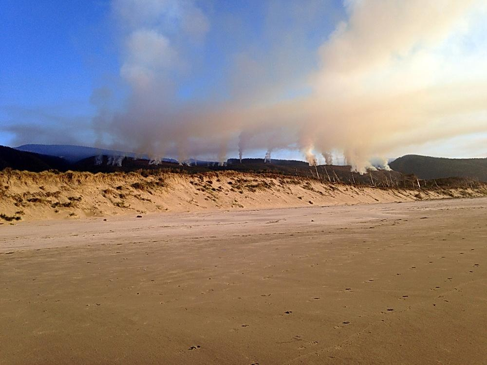 Forest slash fires visible from Cape Lookout State Park.\Photo by Allison Asbjornsen.