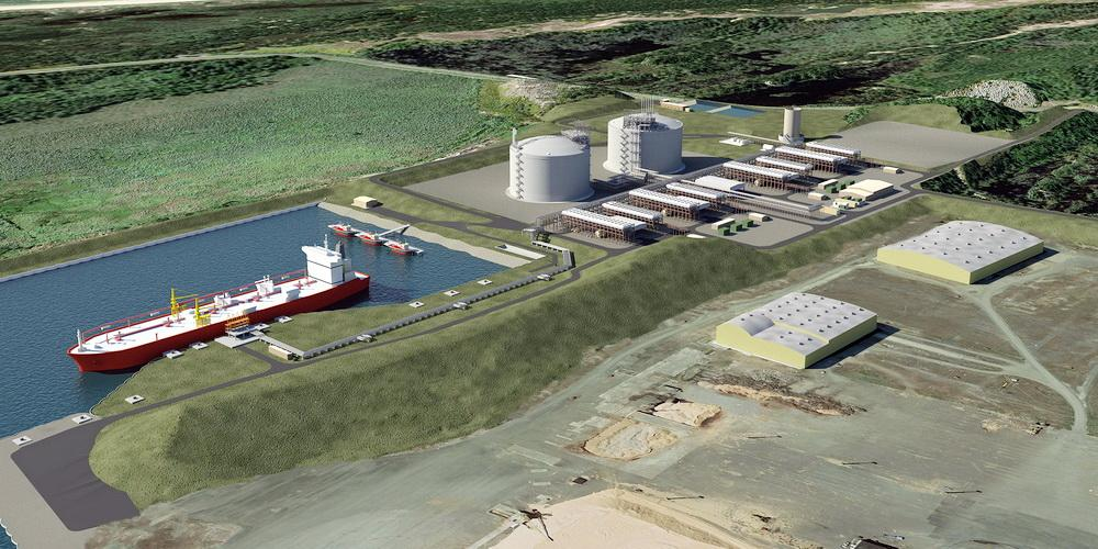Artist's conception of proposed Jordan Cove LNG facility.  (No credit needed.)