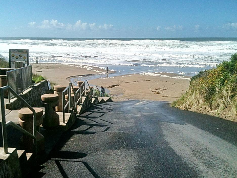 Photo of vehicle access to beach in Lincoln City, by Lois Hartwig.