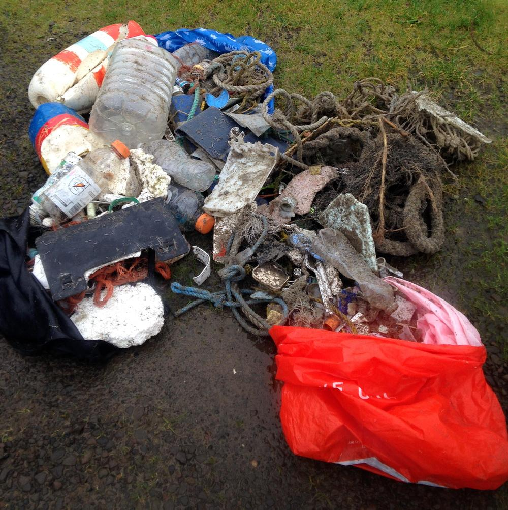 Marine debris collected on Bayocean Spit.\Photo by Paul Lask.