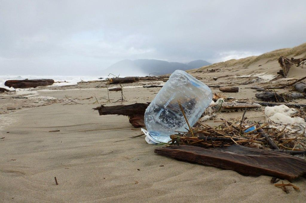Marine debris comes in all sizes--a plastic jug upon the shore.\Photo by Steve Morey.