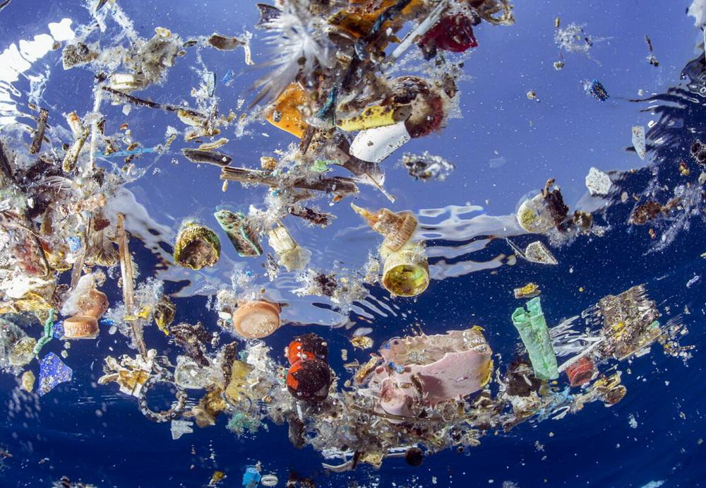 Plastics choking the ocean.\Photo by Kip Evans.
