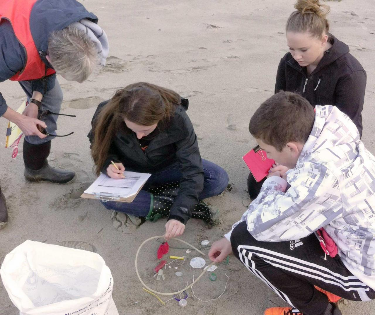 Students conducting marine debris survey.  Photo by Fawn Custer.