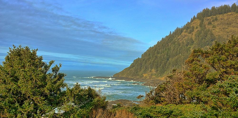 View of Cape Perpetua from the Visitor Center.\Photo by Kirt Edblom.