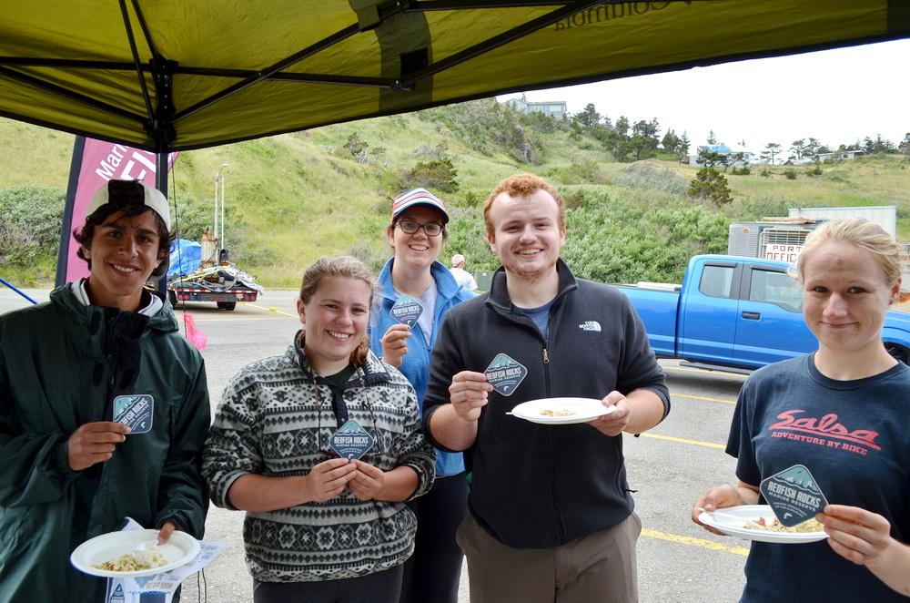 Researchers celebrate seafood found in marine reserves.\Photo courtesy of ODFW.