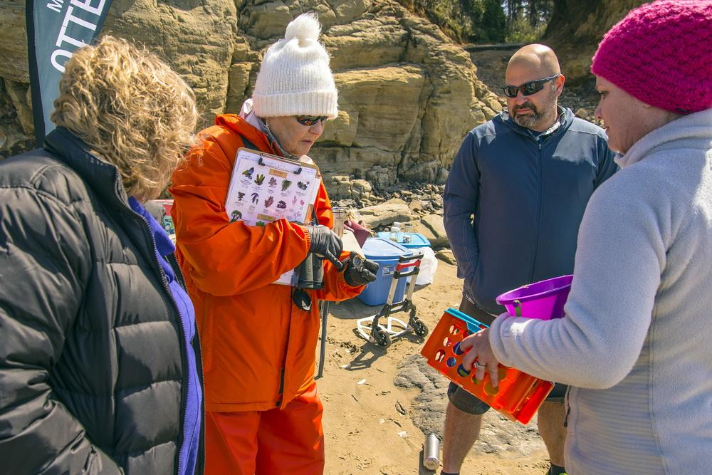 Karen Driscoll teaching the public about tidepool life on Earth Day.\Photo by Dennis White.
