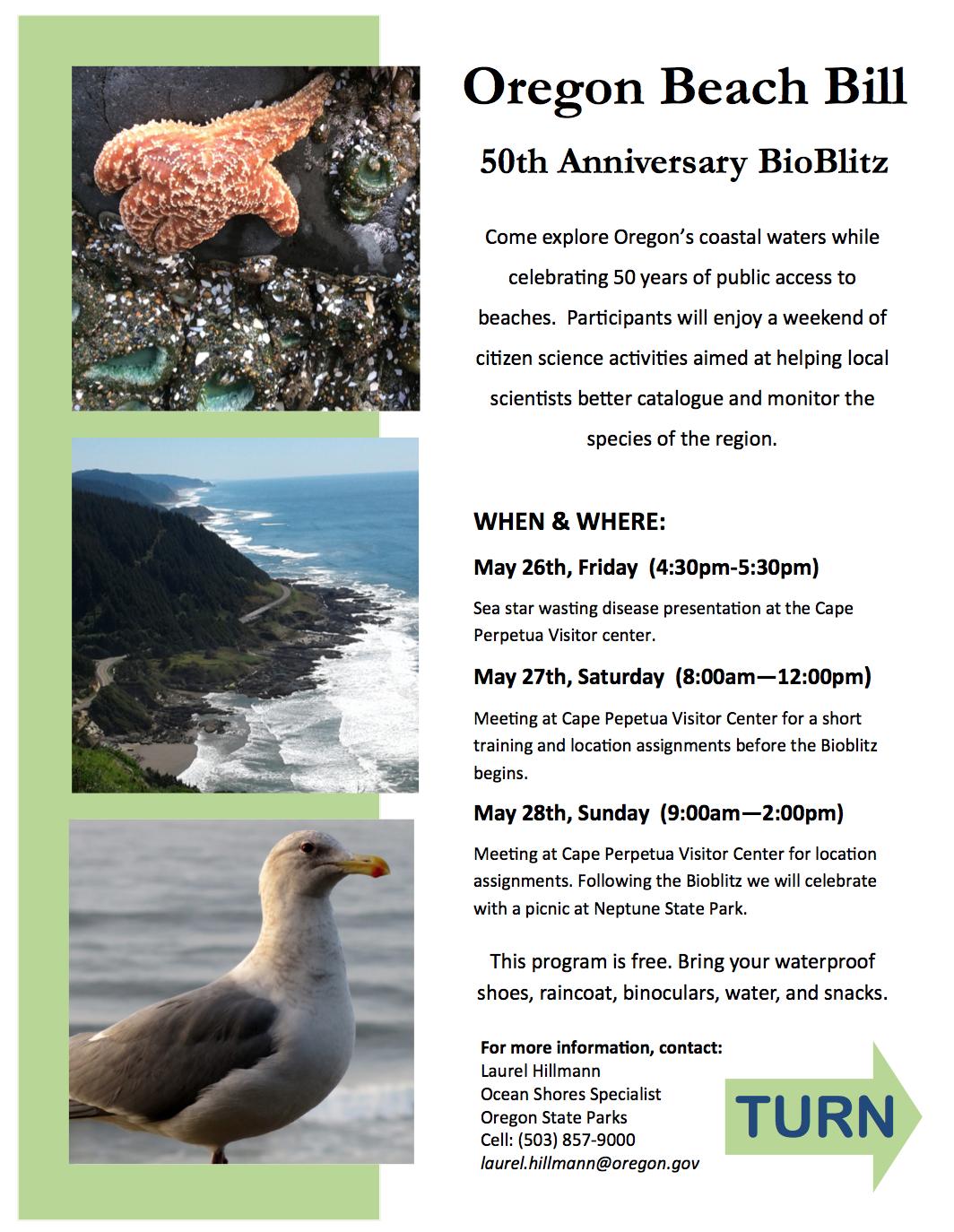 Image of the Oregon Beach Bill 50th Annivsersary BioBlitz schedule.