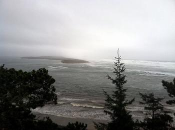 Storm at Netarts Bay entrance. Photo by Allison Asbjornsen.