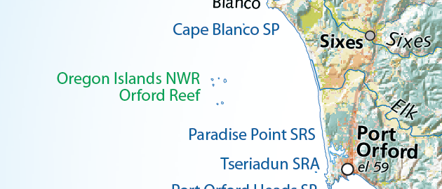 Map detail of Port Orford area.