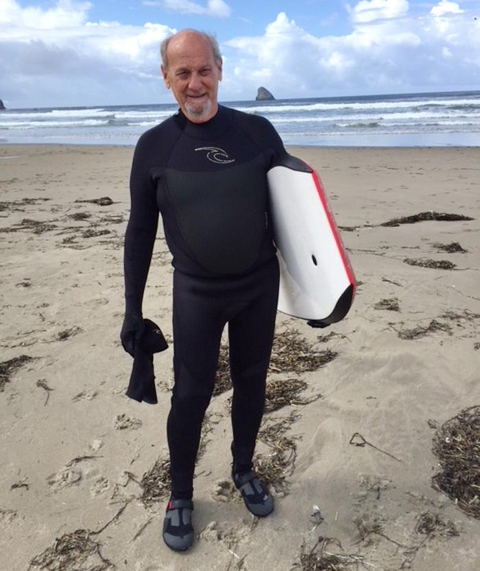Author Rob Freedman, surfing at Cape Meares.
