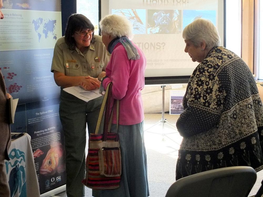 Dina Pavlis (left) at a previous presentation.\Photo by Julie Thomas.