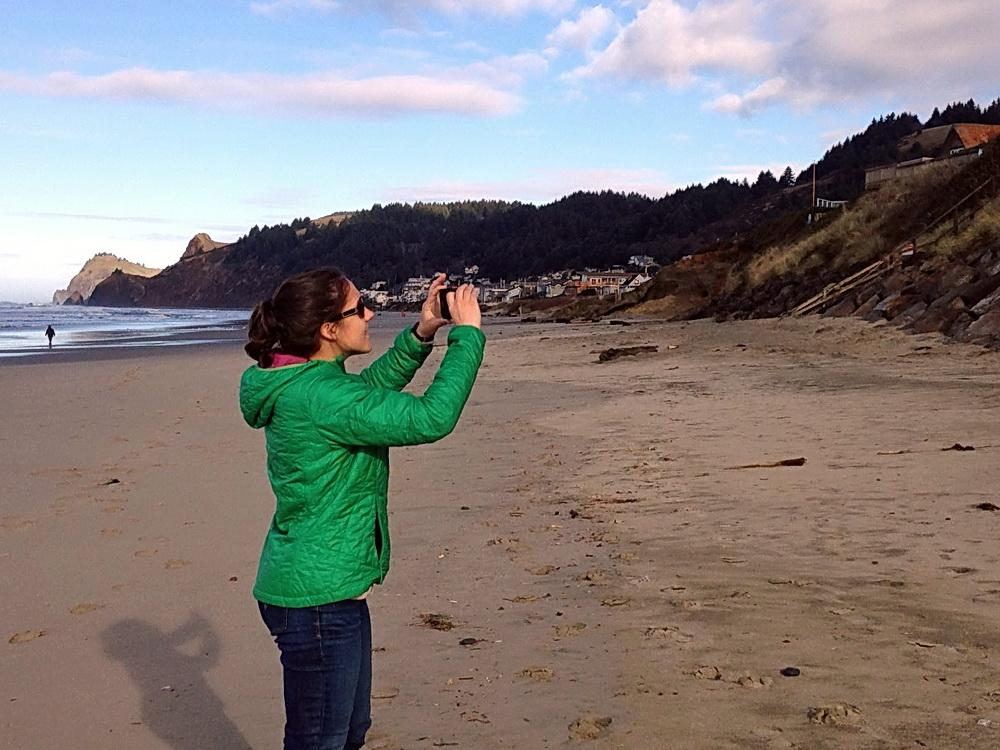 Meg Reed surveying the shoreline.