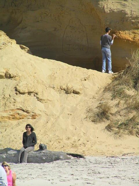 Busily carving graffiti in the sandstone wall, oblivious to the surroundings