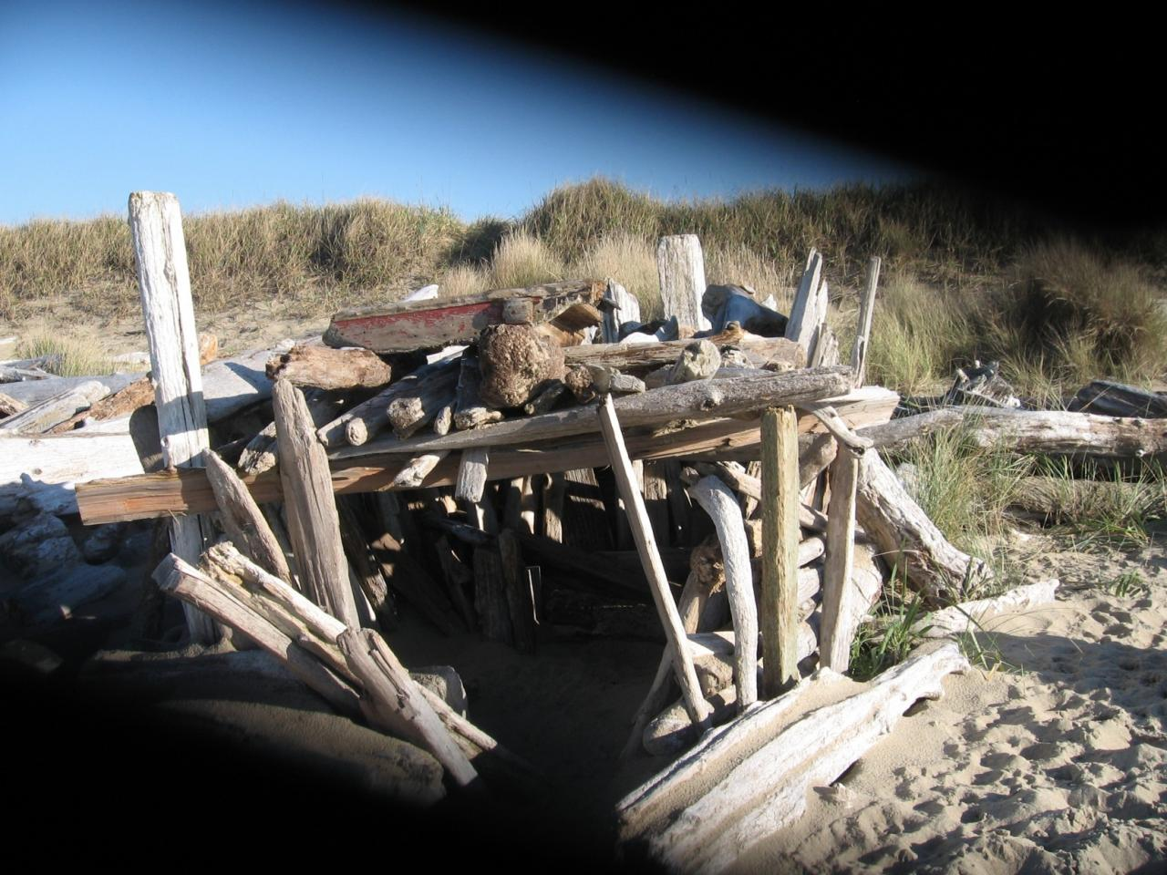 This driftwood fort has been standing all summer and fall.  It lies at the northernmost section of our beach.