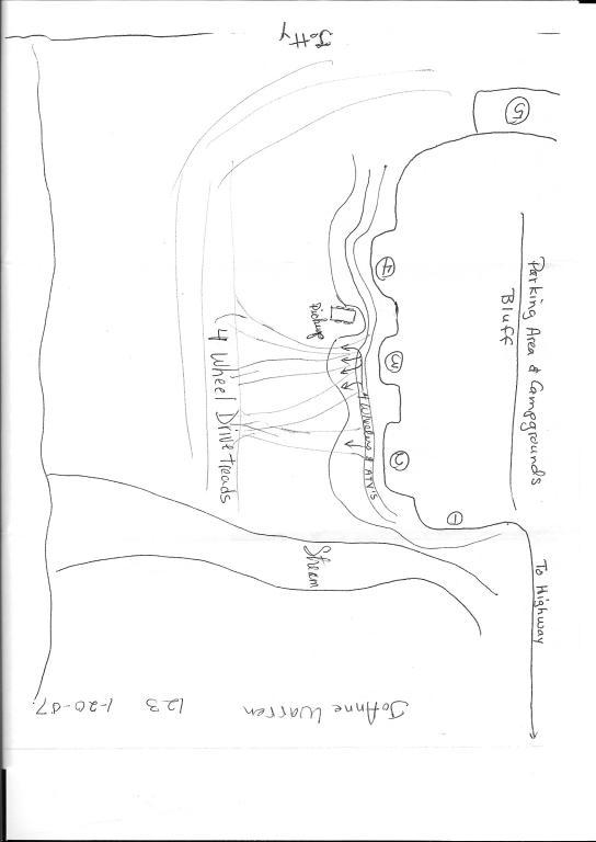 Map detailing where the pickup was on the sand and where the 4-wheel drive treads were erroding the sand dunes.