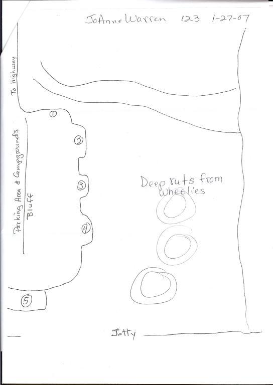 Map of Mile 123 showing where the tire tracks from wheelies were in the sand.