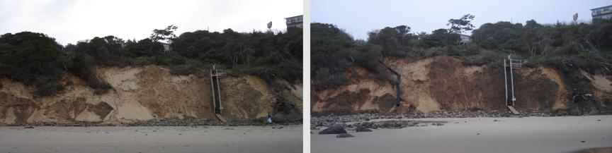The two photos show the large-diameter drainpipe running down the sandy bluff by the RV park that was built on the blufftop property in August 2007.