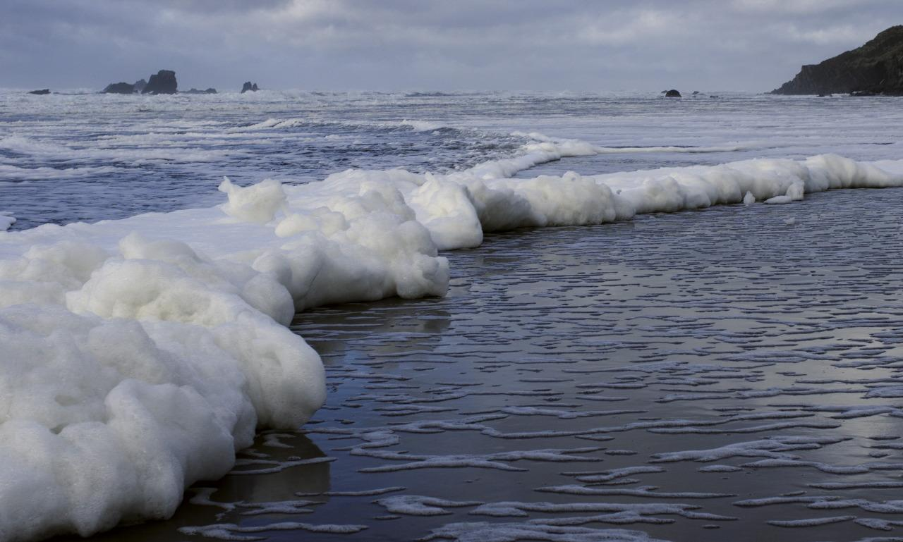 Sea foam over a foot thick was turning the water into slop.