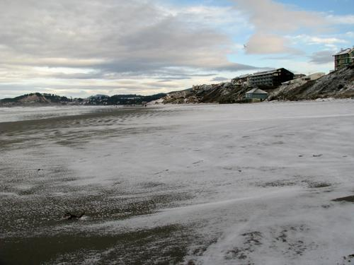 Snow on Nye Beach, December 15, 2008