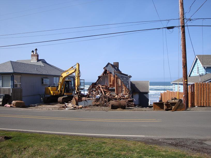 Another old beach house getting torn down, making way for a new one.