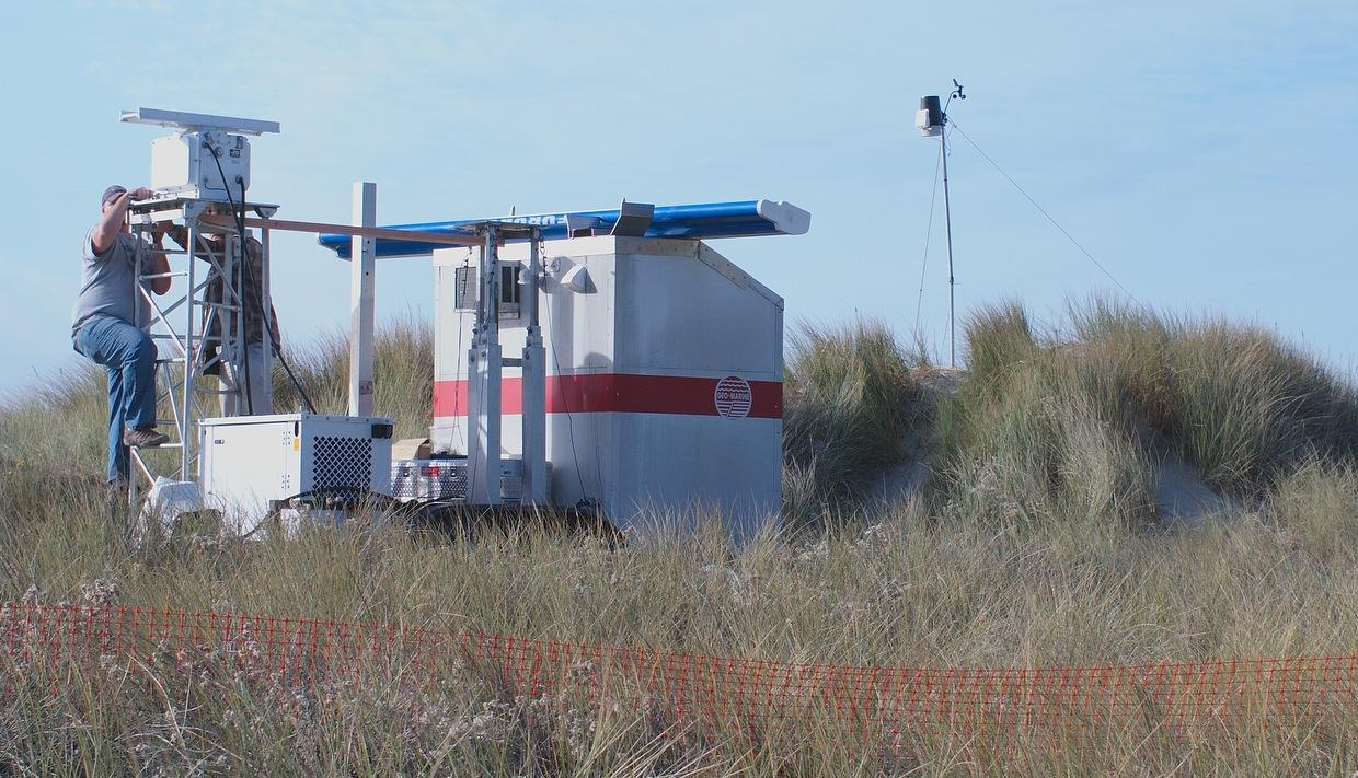 Geo-Marine Inc. is setting up a bird radar station, probably to count birds after dark, when we humans can't see.