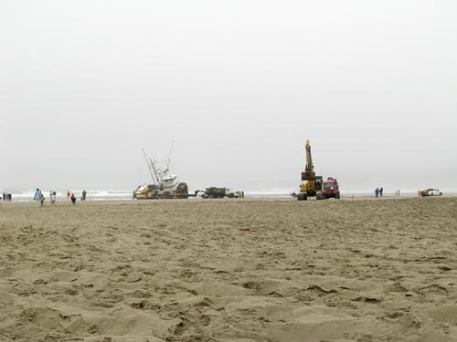 Some of the equipment used to refloat the Lori Ann, which stranded on Nye Beach on August 11, 2009.
