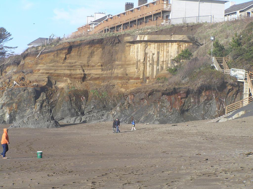 Time series of photos available that showprogression from when columns were poured into the bank (back from the cliff) and from when it became exposed