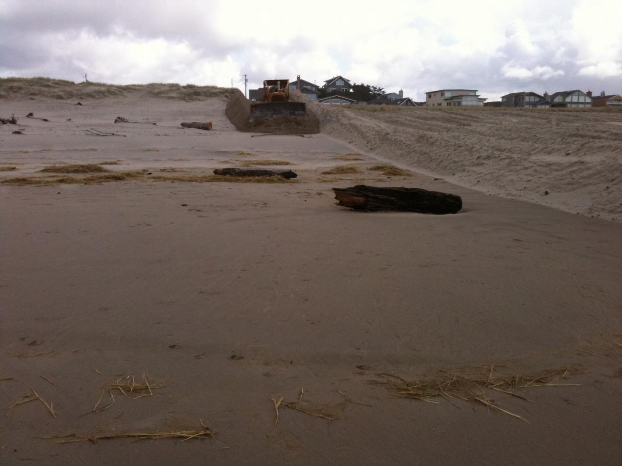 bulldozer flattening dunes between Beach Access 7 and 9