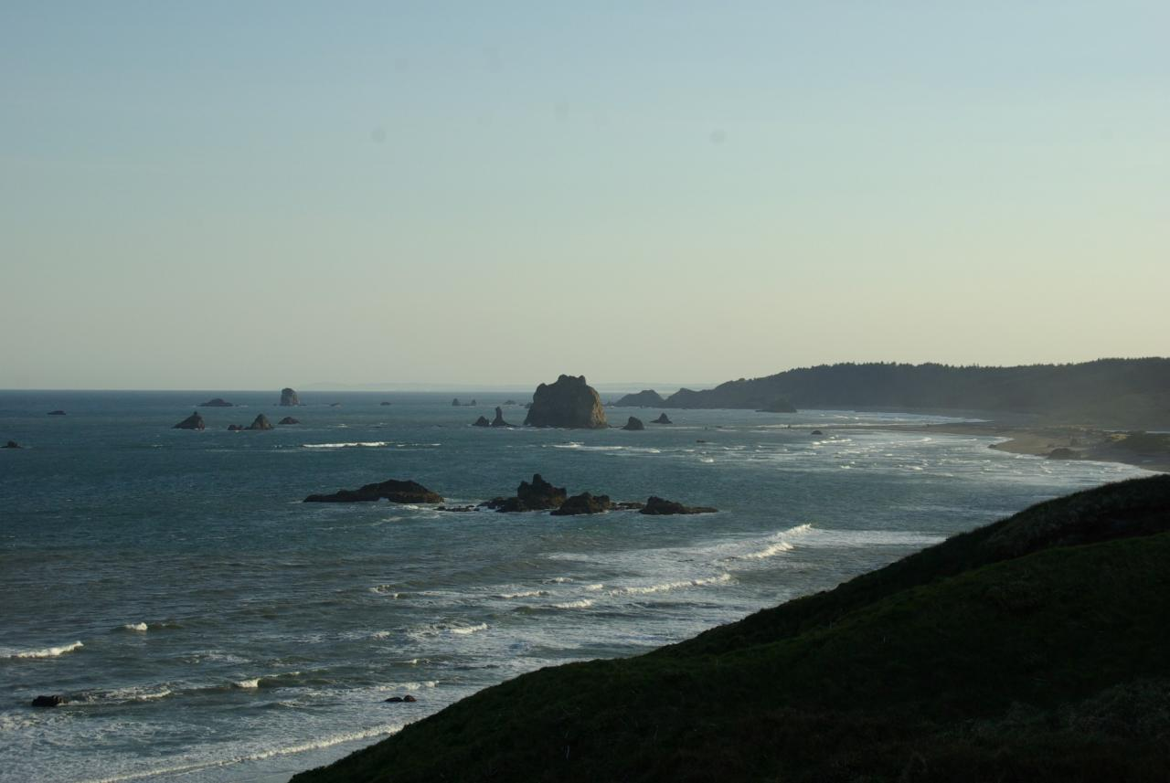 A distance view of mile 57, looking north from Cape Blanco towards the Sixes River
