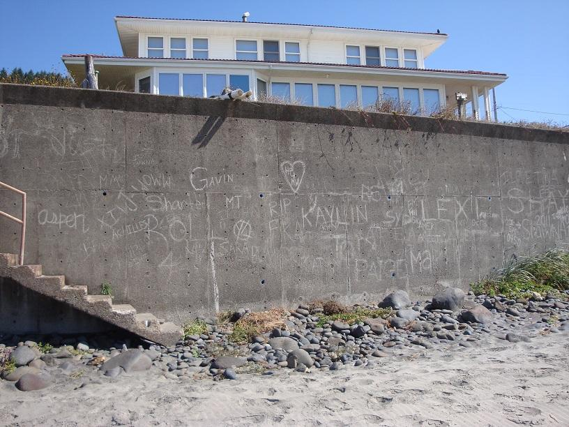 This guy's sea wall has become a target for vandalism.