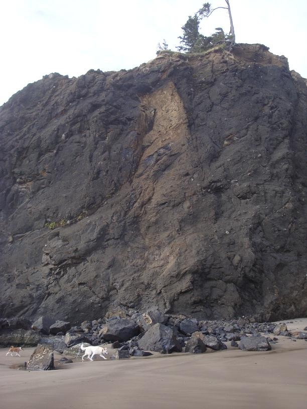Recent, large rockfall at north end of Roads End mile.
