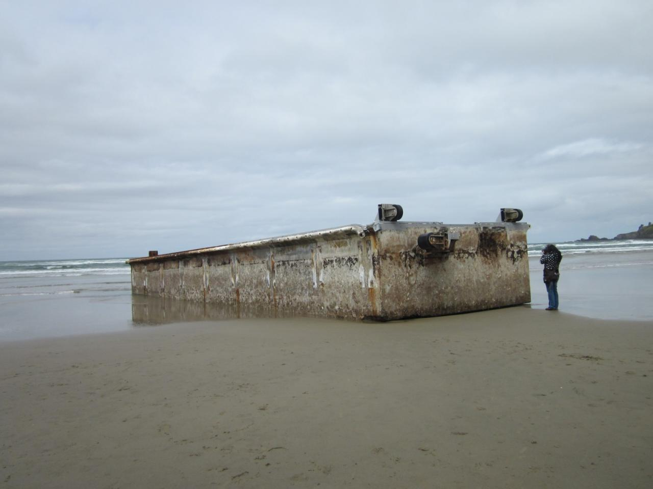 The scraped and sanitized repair dock on Agate Beach at the high tide line.