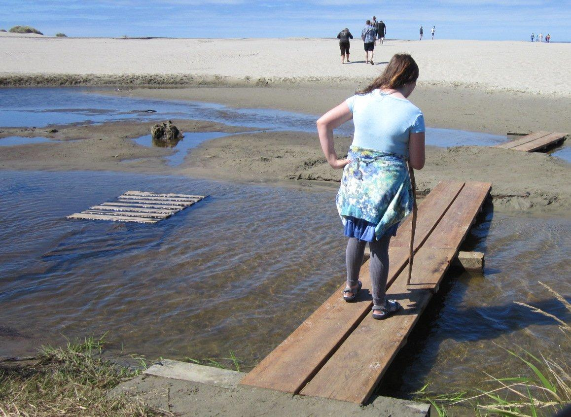 Temporary footbridge across Big Creek in front of Agate Beach State Park