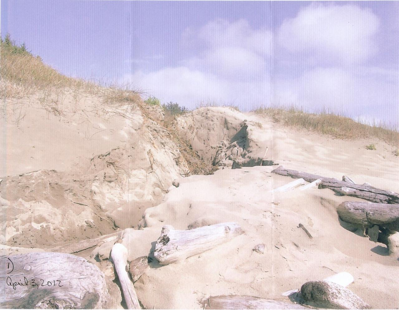 In March, we had 15 plus inches of rain plus 6 inches of heavy snow.  This erosion occurred as the result of heavy runoff from these storms.  The water came off the hillside and down a roadway.