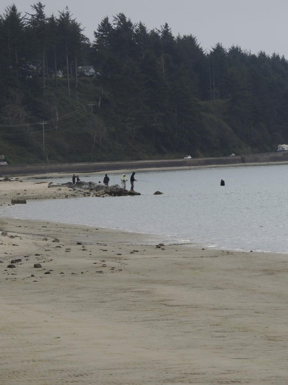 People fishing by The Interpretative Center in waldport