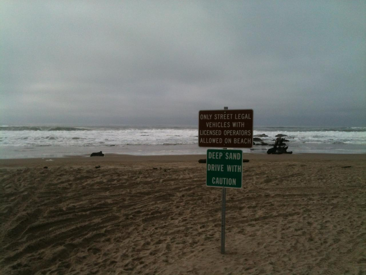 New signs pointing out deeper sand.