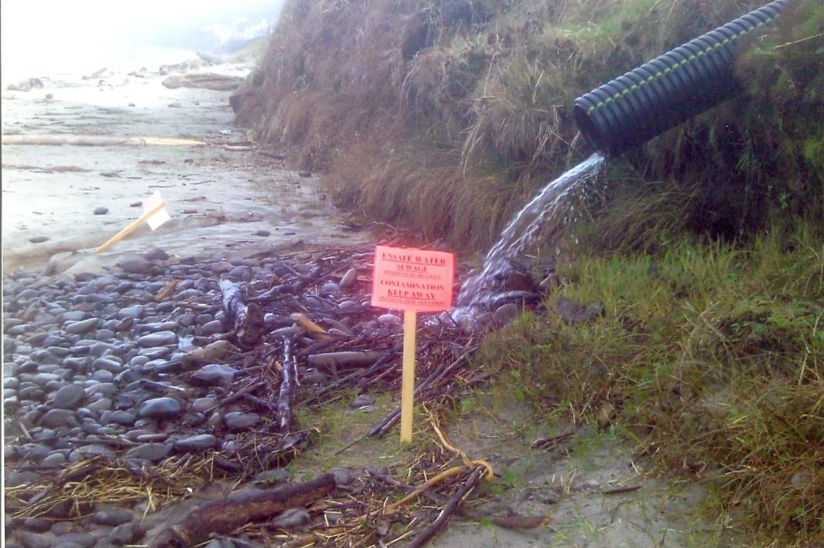 This was kind of a shock today to see these signs about sewage on the beach. First time I've seen that there, this was just north of the 2nd. parking lot on the beach at road's end (mile 245)