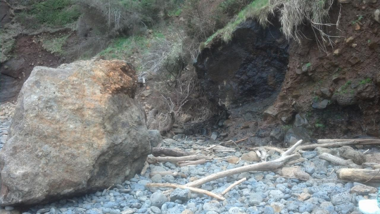 The moisture and freezing temperatures the coast had recently, caused this large boulder to break off the side of the cliff. Notice the dark colored area on the cliff where the boulder used to be.