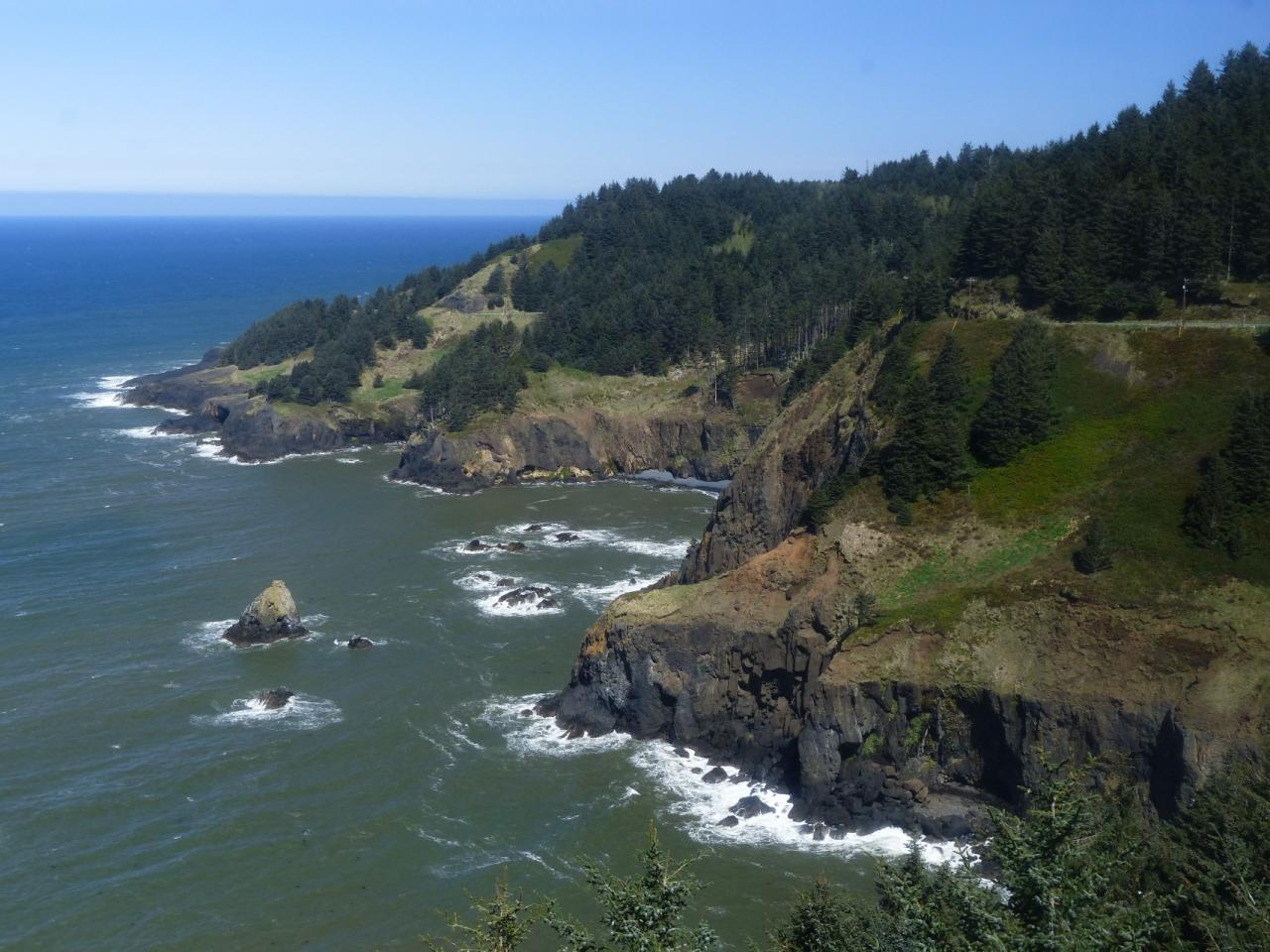 View to NNW of north end of mile 226 from viewing area in Lookout at Otter Crest State Wayside.