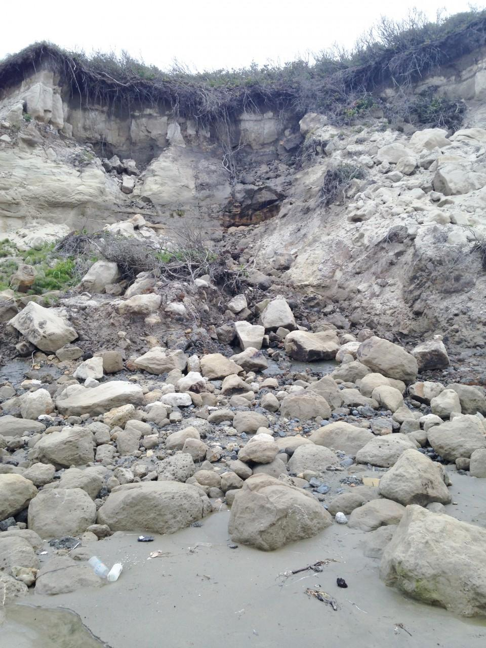 This large bluff erosion area is near the north end of Mile 210. This year there is visible water coming out of the bluff about 2/3 of the way up.