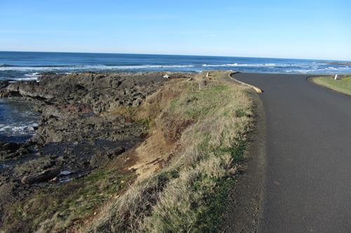 Erosion next to Yachats Ocean Road looking north