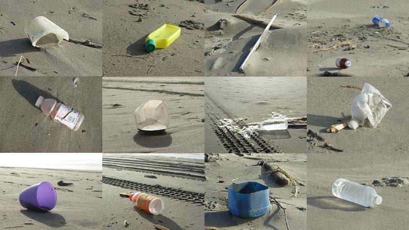 plastic trash on the beach