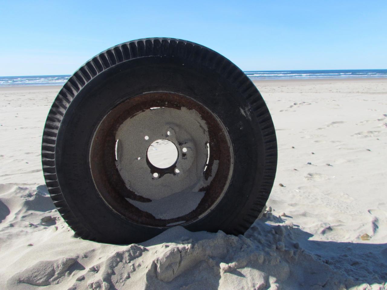 Photo of tire found on beach.
