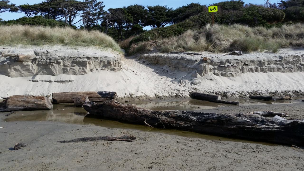 Entrance to beach is being eroded away. Needs maintenance.