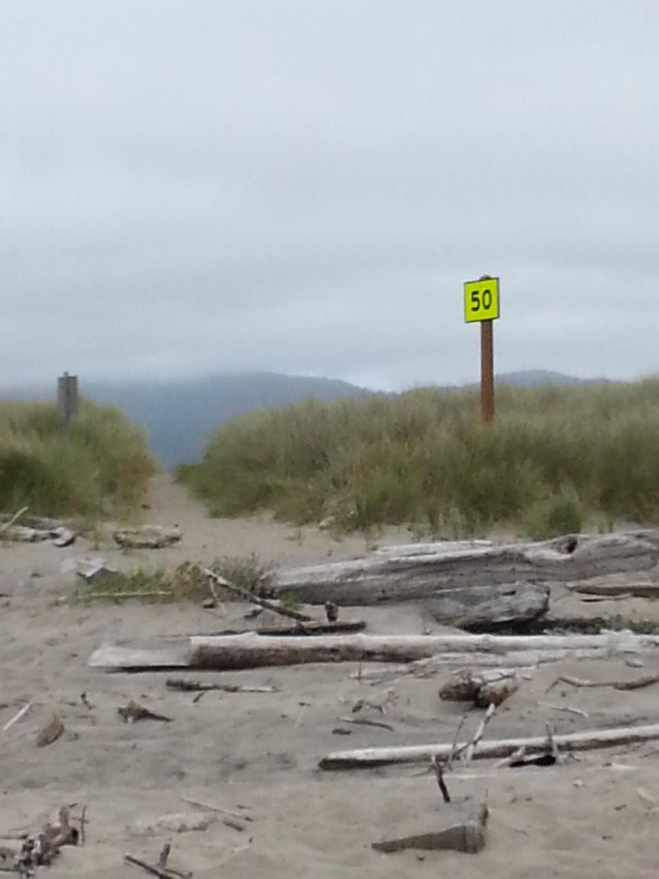 One of the new emergency location signs posted at a beach access.  I don't know why they didn't coordinate these numbers with the Highway 101 mileage signs ... but they didn't ask my opinion.