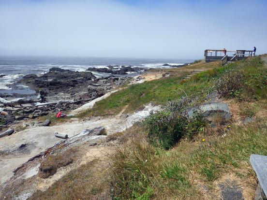 Erosion of the beach below the overlook.