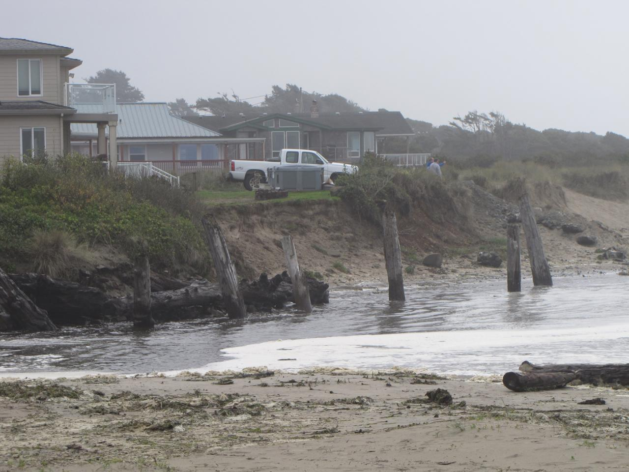 King tide high tide, showing the property next to Saltair Creek that requested riprap installation back in March 2015. Request was denied and is currently being appealed.