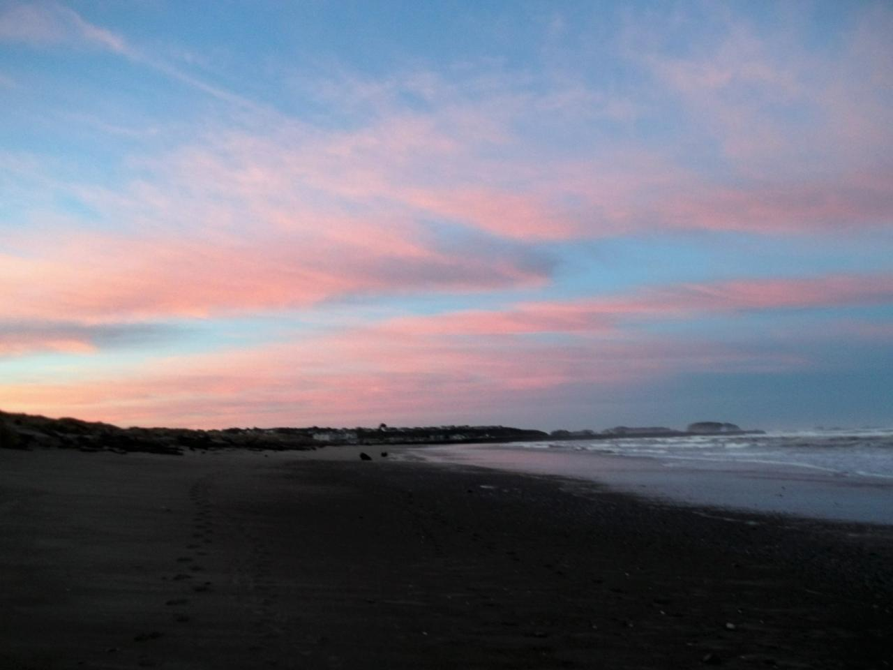 Sunrise over Bandon is glorious as seen looking south from the beach to the north of the Coquille River.