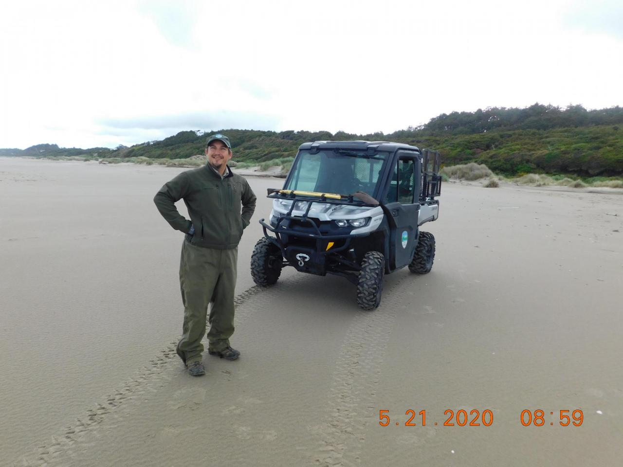 OPRD Beach Ranger Doug Sestrich beginning nest buffer