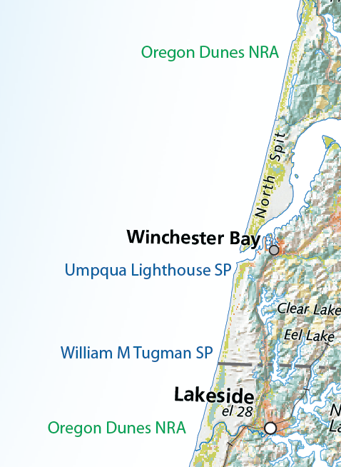 Map detail showing mouth of the Umpqua River.